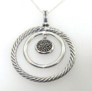 19: David Yurman Silver, Black Diamond Pendant