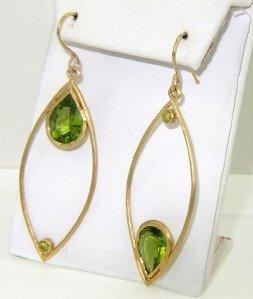 5A: Antique 18K Yellow Gold Peridot Earrings