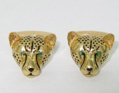 14A: EW&C 18K Yellow Gold, Emerald Cufflinks