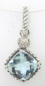 2: David Yurman Silver Blue Topaz & Diamond Pendant