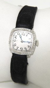 9: Platinum Diamond Leather Suede Strap Watch