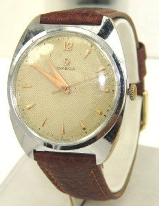 17: Omega Stainless Steel Leather Strap watch