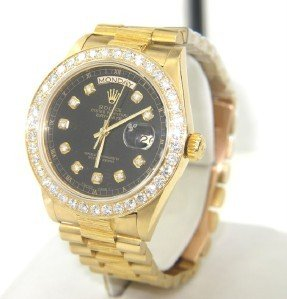 184: Rolex 18K Yellow Gold Diamond President Watch