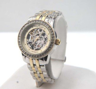 6A: Anne Klein Stainless Steel Skeleton Automatic Watch