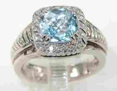 Charles Krypell 14K Gold/Silver Blue Topaz Diamond R