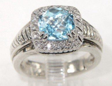 2: Charles Krypell 14K Gold/Silver Blue Topaz Diamond R