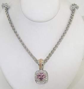 Charles Krypell Silver/Gold Pink Topaz Diamond Neckl