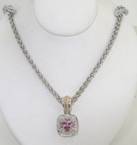 4: Charles Krypell Silver/Gold Pink Topaz Diamond Neckl