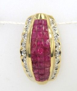 14K Yellow Gold, Ruby & Diamond Pendant