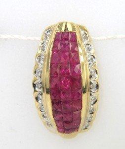 12: 14K Yellow Gold, Ruby & Diamond Pendant