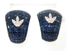 448: Salavetti 18K White Gold Sapphire & Diamond Earrin