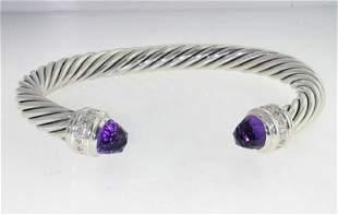 David Yurman Silver Amethyst Diamond Bangle