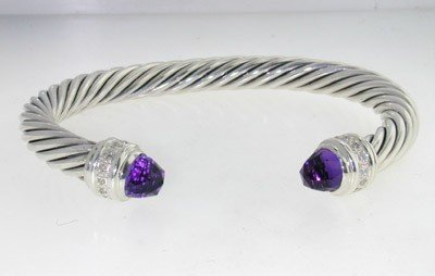 8: David Yurman Silver Amethyst Diamond Bangle