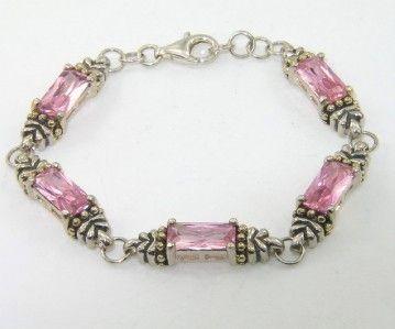 Silver Pink Topaz Bracelet