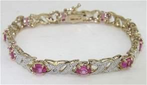 301: Silver Pink Topaz & Diamond Bracelet