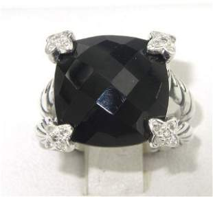 David Yurman Silver Onyx & Diamond Ring