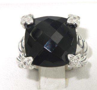 4A: David Yurman Silver Onyx  & Diamond Ring
