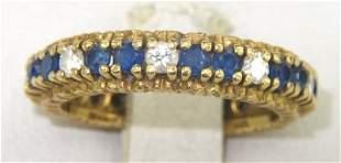 18K Yellow Gold Sapphire & Diamond Ring
