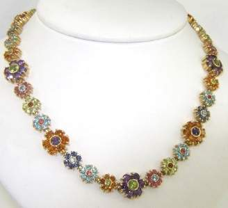 198A: 18K Yellow Gold, Multi-Colored Stones  Necklace.