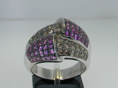 4C: 14K White Gold Pink Sapphire & Fancy Color Diamond