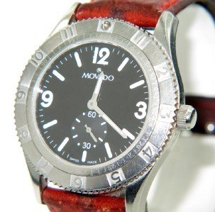 Movado Stainless Steel Leather Strap Watch - 2