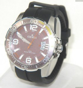 Croton Stainless Steel Rubber Strap Watch