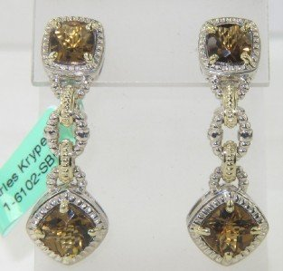 3A: Charles Krypell 14K Yellow Gold/Silver Citrine Earr