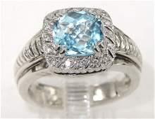 199A: Charles Krypell 14K Gold/Silver Blue Topaz Diamon
