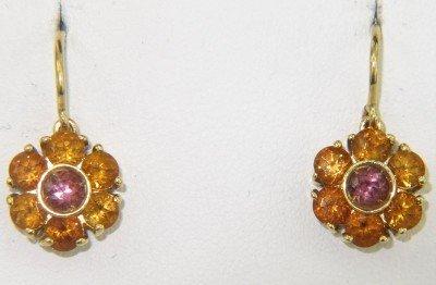 18K Yellow Gold Citrine, Pink Topaz Earrings