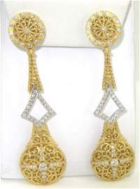 Bach Gitan 18K 2-Toned Gold Diamond Earrings