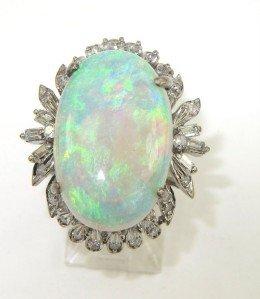 14K White Gold Opal & Diamond Ring