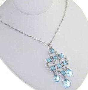171A: 14K White Gold Blue Topaz Diamond Necklace