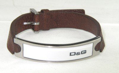 2A: Dolce & Gabbana Stainless Steel Leather Strap Brace