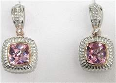 215A: Charles Krypell Gold/Silver Pink Topaz Diamond Ea