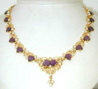 15A: Salavetti 18K Gold, Carved Amethyst & Pearl Neckla