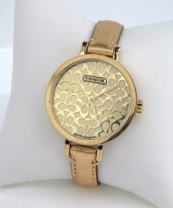 14A: Coach Stainless Steel Leather Strap Watch