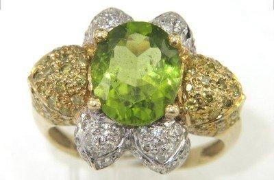 3A: 14K Yellow Gold Peridot & Diamond Ring