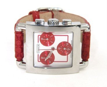2B: Coach Stainless Steel Chronograph Leather Strap Wat