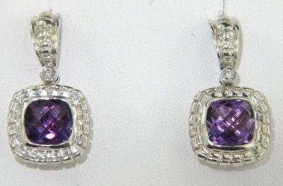 4A: Charles Krypell Gold/Silver Amethyst & Diamond Earr