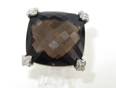2C: David Yurman Silver Smoky Topaz & Diamond Ring