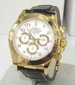 916e128acd0 171B  Rolex Daytona 18K Yellow Gold Leather Strap Watch