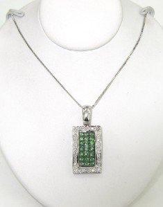 14K White Gold Diamond & Tsavorite Necklace