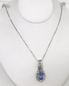 14K White Gold Diamond & Tanzanite Necklace