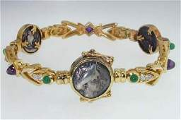18K Gold Ancient Coin Emerald Amethyst Diamond Bracelet