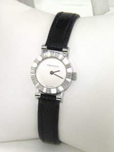 1: Tiffany & Co. Silver Leather Strap Watch
