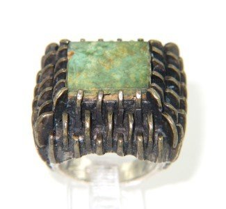 9: 14K Yellow Gold / Silver Turquoise Ring