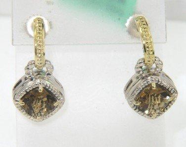 5: Charles Krypell Gold/Silver Diamond Citrine Earrings