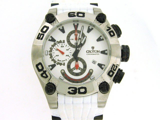 7A: Croton Men's Chronomaster Rubber Strap Watch