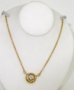 3A: Movado 18K Yellow Gold Diamond Necklace