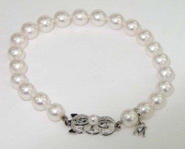 13A: Mikimoto 18K White Gold Pearl Bracelet